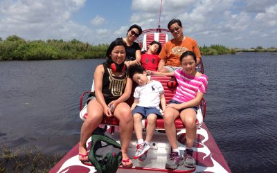 A family enjoying Airboat rides Fort Lauderdale